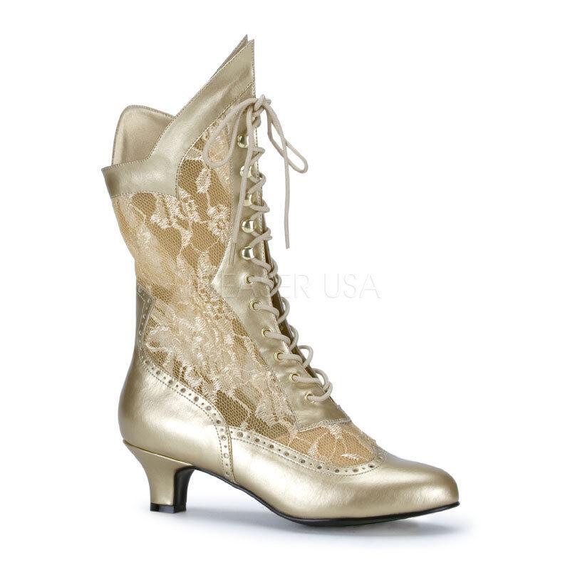 Funtasma 2  Heel gold Western Boots Gothic Granny Victorian 6 7 8 9 10 11 12