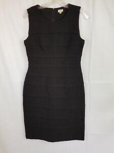 CACHE-SOLID-BLACK-SEAMED-STRIPE-SLEEEVELESS-SHEATH-DRESS-SZ-6-D374