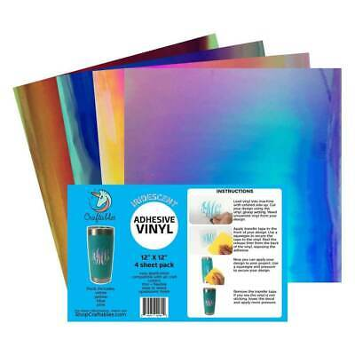 Craftables Holographic Vinyl Starter Pack 6 SheetsIridescent Adhesive Vinyl