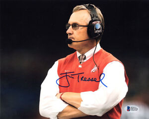 JIM TRESSEL SIGNED AUTOGRAPHED 8x10 PHOTO OHIO STATE BUCKEYES COACH BECKETT BAS