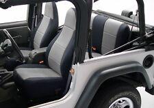 1987-1990 Jeep Wrangler Custom Neoprene Front & Rear Seat Covers Black & Gray