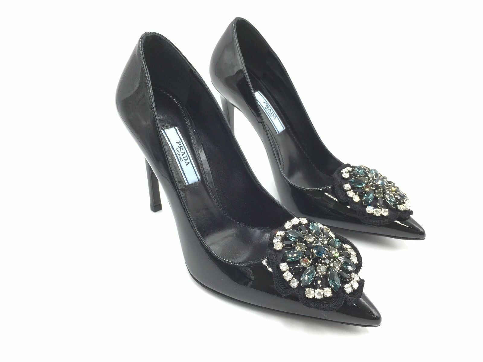 2650 PRADA WOMEN BLACK CRYSTAL LEATHER ITALY SHOES HIGH HEELS PUMPS 35.5 5.5 US