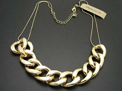 $24 Stephan & Company Large Metal Link Curb Chain Necklace Goldtone