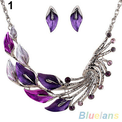 Beautiful Tibetan Leaf Peacock Crystal Rhinestone Earrings Short Necklace Set