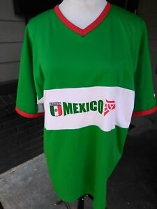 Mens-Large-Joma-Team-Mexico-Soccer-Jersey-Red-Green-White-Short-Sleeve-Polyester