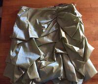 Samuel Dong $149 Olive Green Ruffled Bubble Nylon Career Skirt M Medium