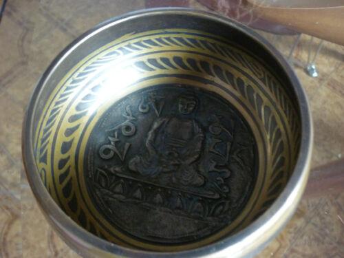 CAMPANA TIBETANA REALIZZATA A MANO BUDDHA arte oriente sette metalli artigianale