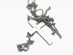 Vintage-Sterling-Silver-33-Long-Chain-CRUCIFIX-CROSS-Necklace-GIFT-BOXED