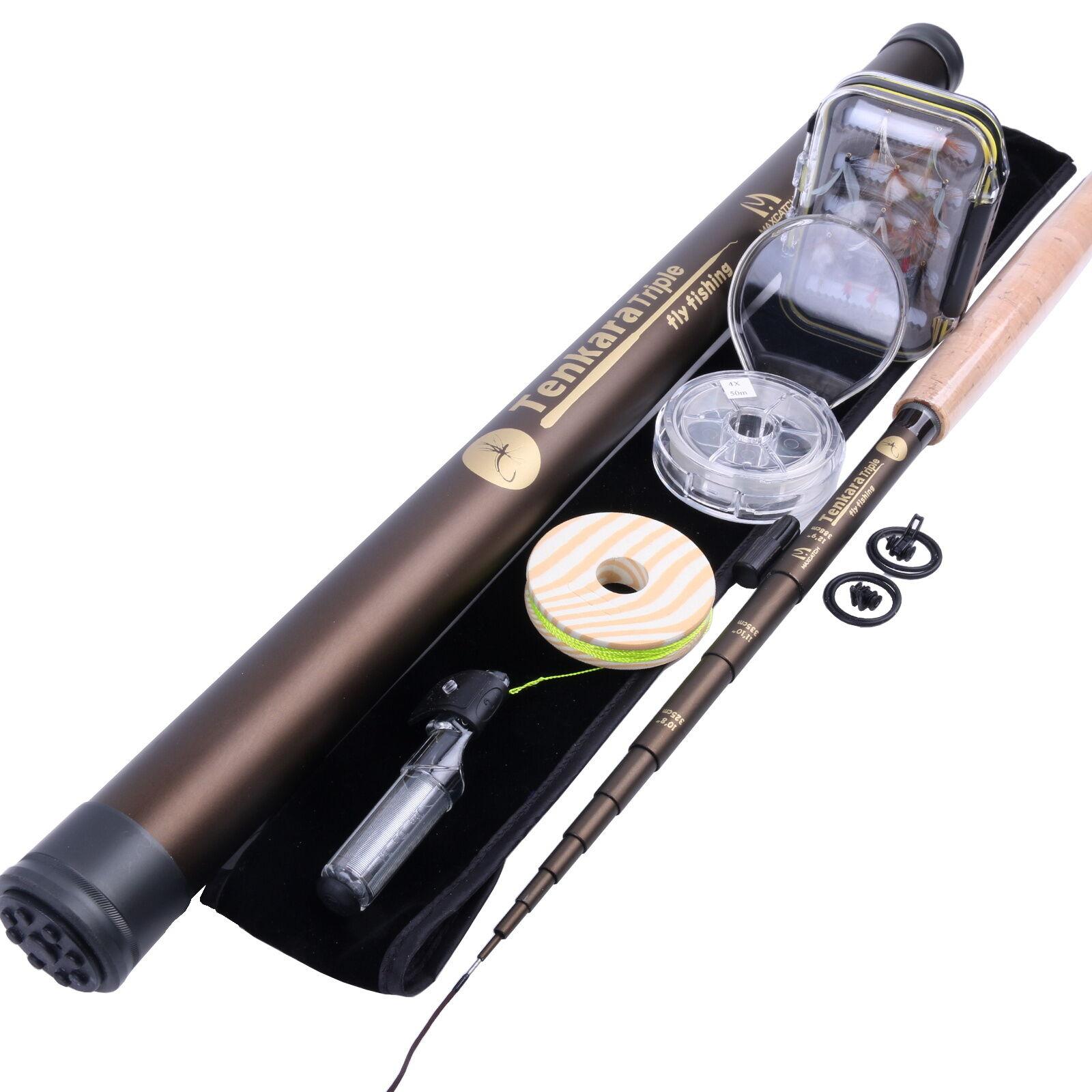 Telescoping Tenkara Rod Combo 10'8  11'1  12'9  Fly Fishing Pole & Line & Flies