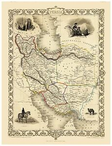 Old Vintage Map of Persia Iran richly illustrated Tallis 1851