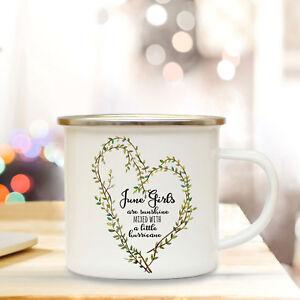 Emaille Tasse Becher Camping Tasse Kaffeebecher Herz Spruch June Girls Eb55 Verkaufsrabatt 50-70% Büro & Schreibwaren Tassen