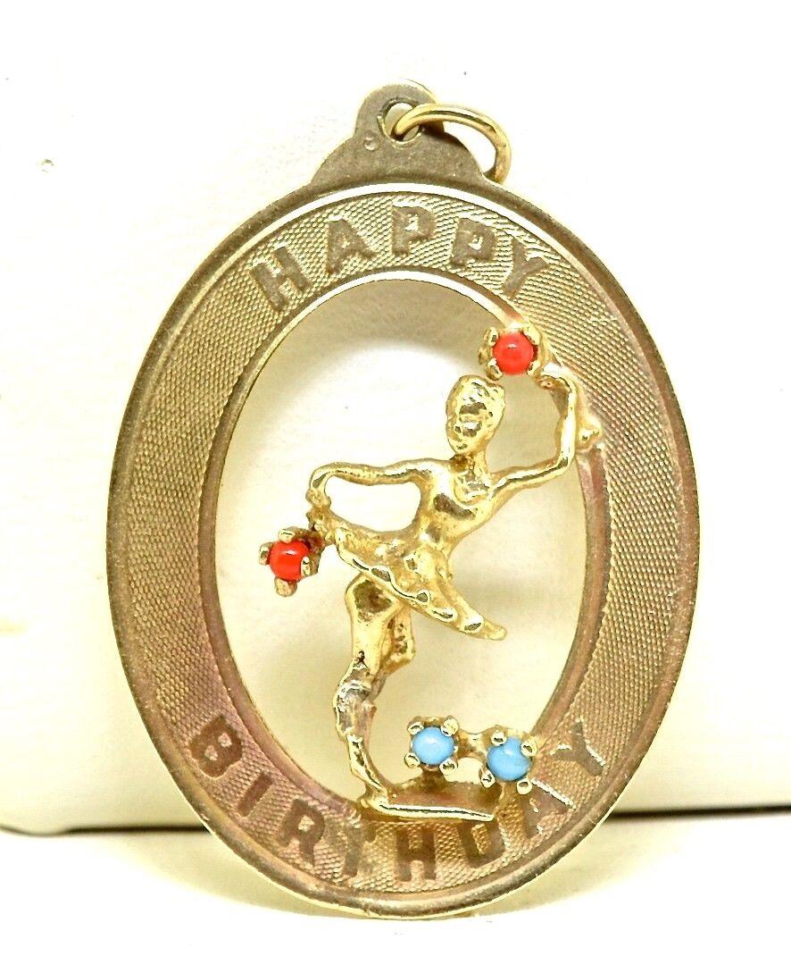 Vintage 14k Happy Birthday Ballerina gold Charm