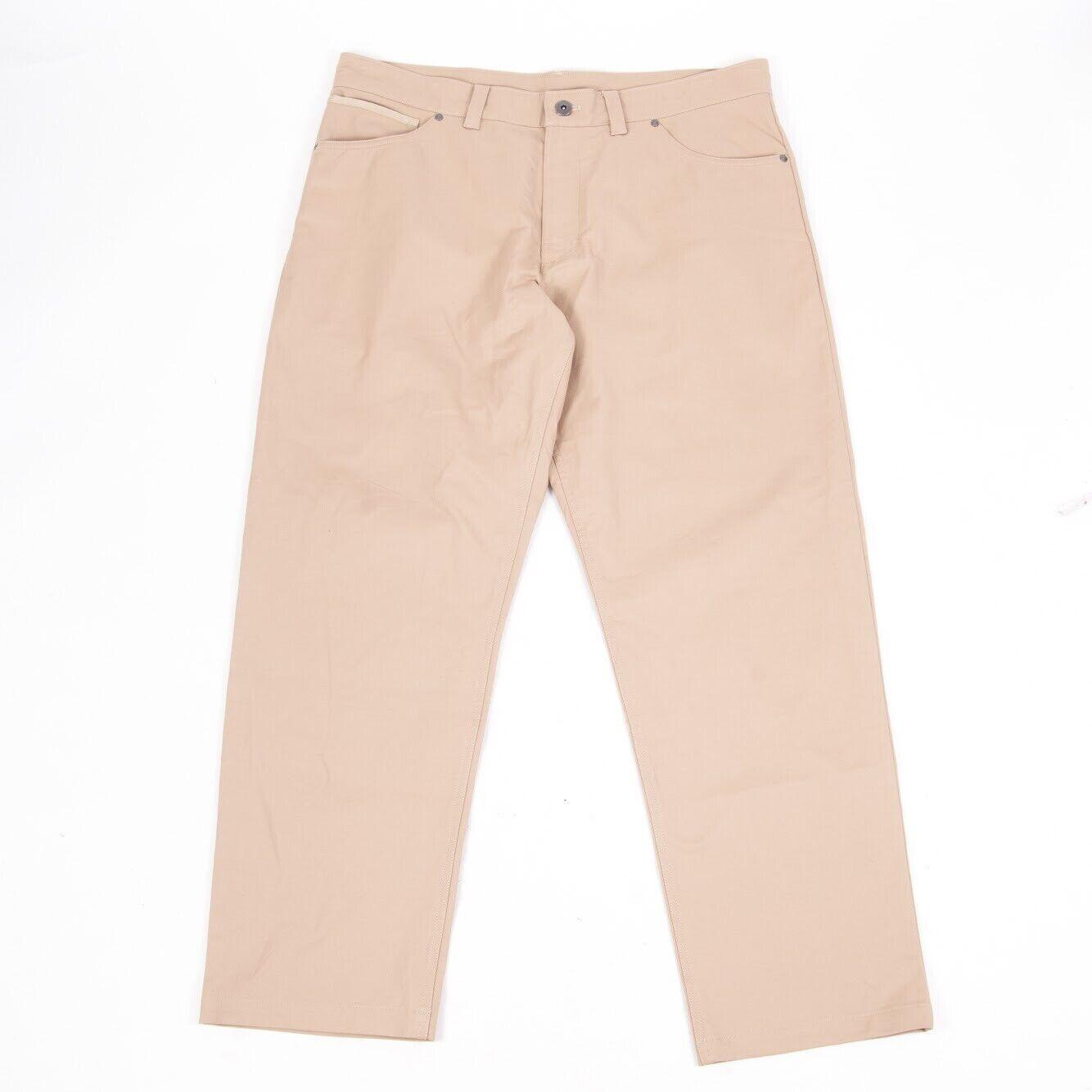 The North Face Mens Dress Casual Pants Khaki Flat Front Cotton elastane 38 R