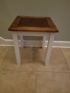Farmhouse End Table W Wood Top Rustic Living Room Decor Brown White