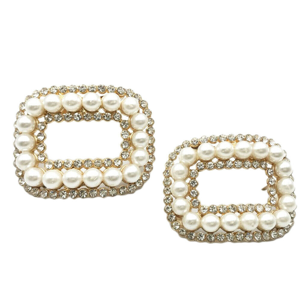 1 Pair of Rhinestone Pearls Shoes Buckle Charms Lady Fashion Pearl Shoes