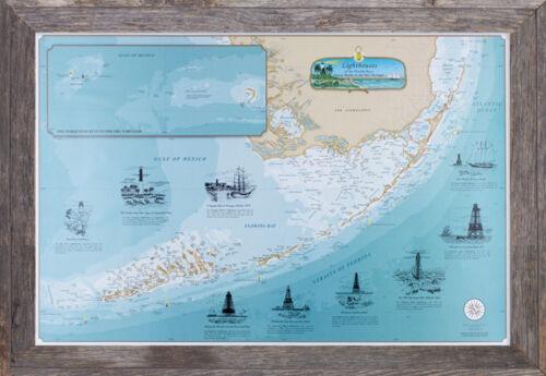 Florida Keys Lighthouse Map Nautical Chart Art Poster Print