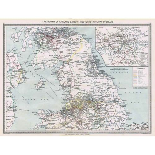 Harmsworth Atlas Antique Map 1906 England and Scotland Railway Map