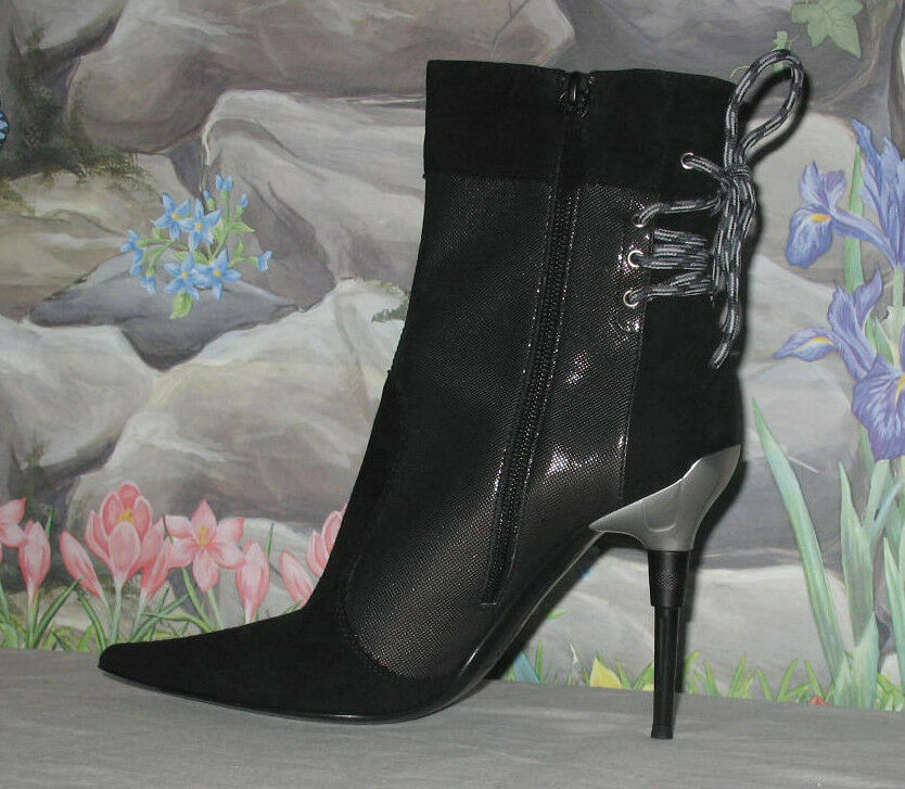 New CASADEI Black Suede & Metallic Mesh Back Lace Boots Booties sz 8.5   EU 38.5