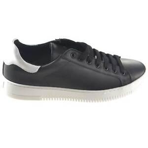 scarpe uomo stringate sneakers bassa nero con fortino bianco vera pelle made in