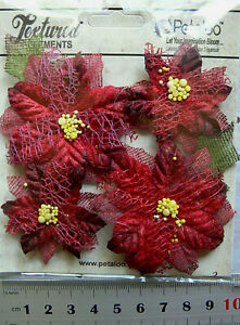 RED-Textured-POINSETTIAS-x-4-Fabric-Mesh-Flowers-2-Sizes-40-amp-60-mm-Petaloo-C