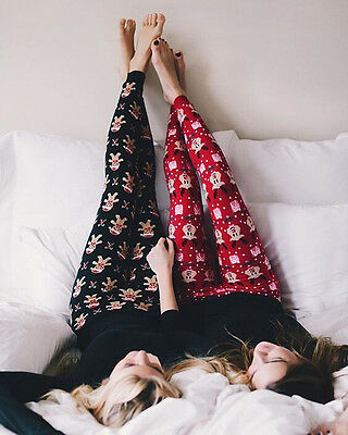 Women Winter Warm Christmas Snowflake Pajamas Leggings Cotton Skinny Hot Pants