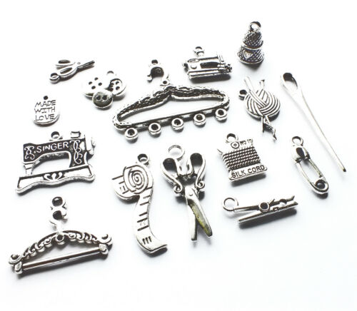 15 Mix Sewing Dressmaker Silver Charm Pendant Machine Scissor Thimble Button Peg