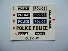 Dinky, Corgi, Spot on etc. 12 waterslide Police Decals code 3.