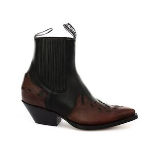 Bottines-homme-cuir-veritable-marron-cowboy-bouts-pointus-Arizona-Western-Cubain
