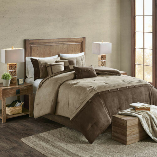BEAUTIFUL COZY MODERN BROWN TAUPE BEIGE COUNTRY LOG CABIN LODGE COMFORTER SET