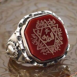 Mens Ring Seal of Solomon 925 Sterling Silver Carnelian Aqeeq handmade Talisman