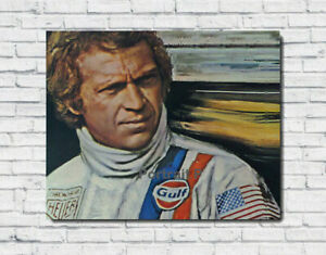 Steve-McQueen-Oil-Painting-Portrait-Hand-Painted-Art-Canvas-Not-a-Print-30x40-in