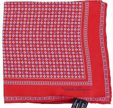 Salvatore Ferragamo Pocket Square/Hanky Red Multi-Flower Pattern 100% Silk