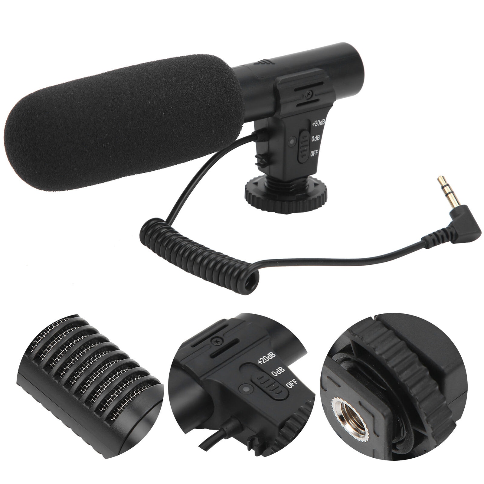 3.5mm Hypercardioid Microphone Cold Shoe 1/4in Screw for DJI OSMO POCKET2 Black
