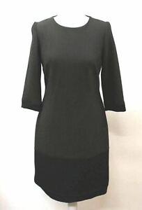 Hobbs-Damen-Khaki-Schwarz-Wolle-3-4-Armel-Farbe-Block-Miranda-Kleid-uk16-NEU