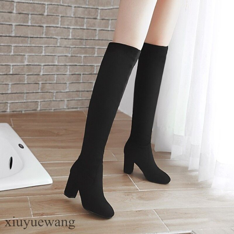 US Womens Knee High Boots Riding shoes Pull On Chunky Heel Solid color Plus Size