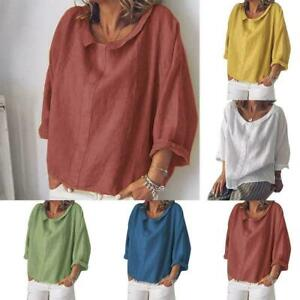Frauen-Baumwolle-Leinen-V-Ausschnitt-Lose-T-Shirts-Kurzkleid-Tasche-Laessige-G9U7