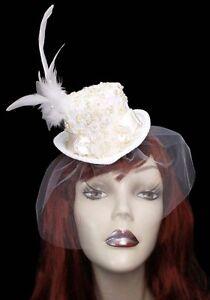 Image Is Loading Ivory Elegance Mini Wedding Top Hat Fascinator Veiled