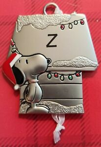 Snoopy-and-Woodstock-Hallmark-Pewter-Ornament-Peanuts-Personalized-Letter-Z-New