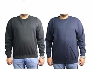 New Mens Plain Fleece Casual Classic Work Sweater Jumper Winter Sweatshirt Top