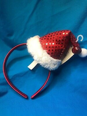 New Claire's Sequined Santa Hat Headband Tags Attached