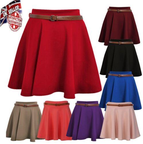 Moxeay Women/'s Skater Skirt Pleated Flared Plain A Line Circle Elastic Waist*pnt