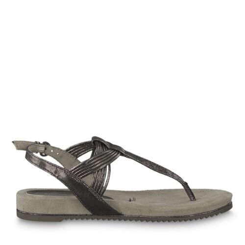 Womens Tamaris 28107 Cushioned Pewter Synthetic T Bar Toe Post Sandal UPTO 9