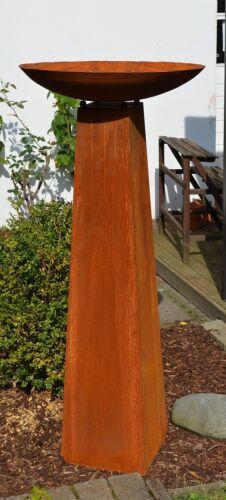 Säule Rost mit Schale Höhe kpl ca 128cm aus Metall Edelrost Deko Set konisch