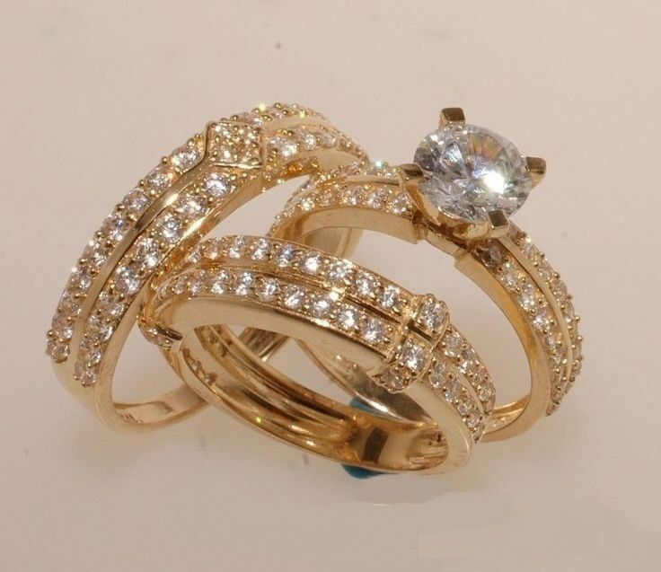Round Diamond 14K Yellow gold Fn Engagement Trio Wedding Ring His Her Bridal Set