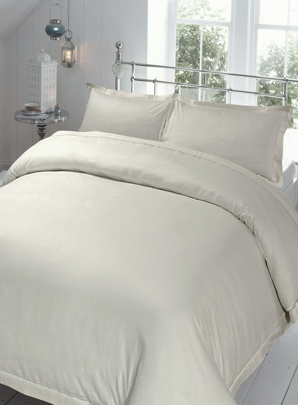Oyster Grey Duvet Cover Set King Size 220Tc 100% Cotton with Oxford Pillowcases