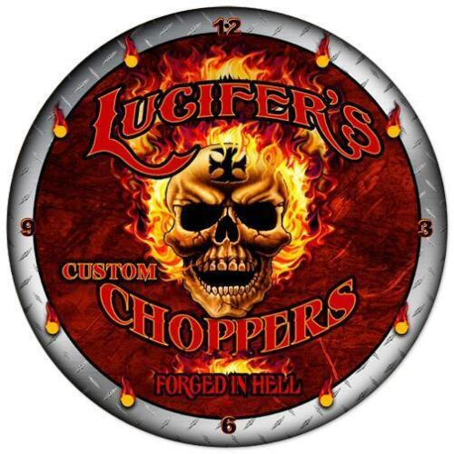 "Garage Hot Rod or Motorcycle Shop..14/"" Wall Clock /""Lucifer/'s Choppers/"" Made USA"
