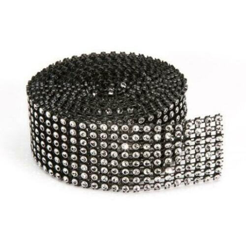 8-row Darice BLING ON A ROLL BLACK Mesh /& SILVER Ribbon Tape 1.37 In x 2 Yards