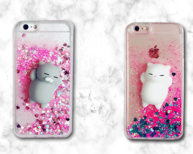 Bling Glitter Pink Quicksand 3D Squishy lazy cat Soft Dynamic Back Cover Case H