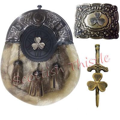 Discreto Abito Completo Scozzese Kilt Lo Sporran Seal Pelle Celtico Fibbia Della Cintura Irish Shamrock Pin-mostra Il Titolo Originale