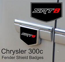 Chrysler 300c SRT8 Fender Side Shield Badge Emblems (Red / Black / Chrome)